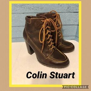 Colin Stuart brown leather Booties Size 8